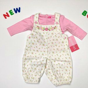 ✨NWT✨ Pretty Pink Flower Overall 2PC Outfit 24m